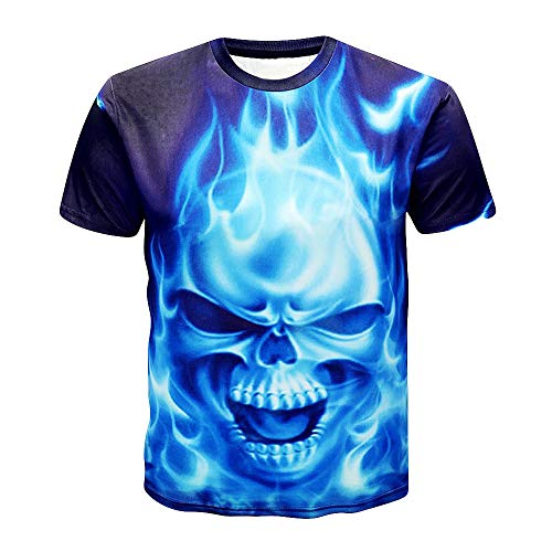 Angebote 2019, Herren T-Shirt Liebhaber Schädel Tiger Männer Tees Shirt 3D Kurzarm T-Shirt Bluse - Ac Top Tank Dc