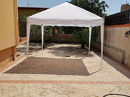 Savino Fiorenzo Pavillon aus Eisen und Metall faltbar mit Ziehharmonika-Teleskop, mit weißem Tuch 3...