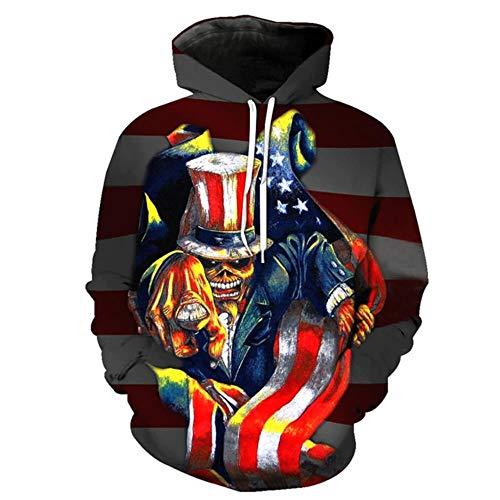 Design Persönlichkeit 3D-Druck Pullover Horror-Serie American Flag Print Mode Hoodie Schädel Magier Sweatshirt, KU2010, XXXL