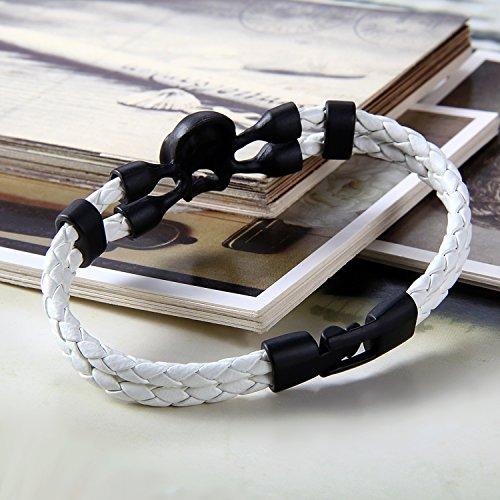 Flongo Bracelet Cuir Alliage Tête de Mort Crâne Punk Rock Tressé Manchette Couleur optionnel Fantaisie Bijoux Cadeaux pour Femme Homme Noir/Blanc/Brun;3pcs