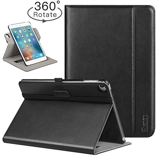 Ztotop Hülle für iPad Mini 4,[360 Grad Umdrehung/Rein Leder] Faltbare Geschäftshülle Multi-Winkel & Automatische Aufwachenden/Schlafenden, Handschlaufe, Stifthalter -Schwarz
