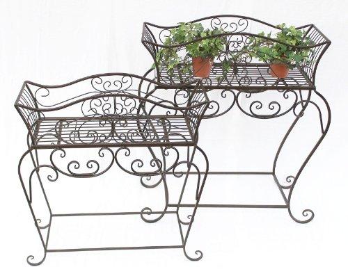 DanDiBo Blumenständer 2er Set Blumenbank 12554 Metall Blumenregal Beistelltisch Tisch