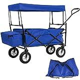 TecTake Carro de mano plegable con techo carretillade transporte para utensilios azul