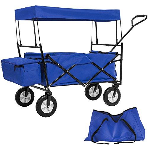 TecTake Chariot pliable avec toit amovible charrette de transport à tirer main - diverses couleurs au choix - (Bleu   No. 402316)