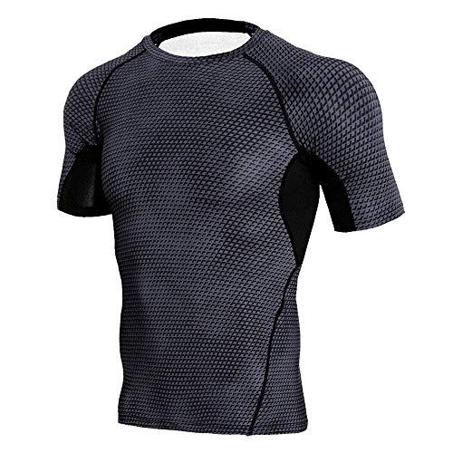 LOPILY Herren Fitness Sport T-Shirt Mode Männer Kurzarm Sport Gym Jogging Yoga Tee Shirt Casual Schlank Kurzarmshirt Top Bluse Muskel Gym Fitness Training T-Shirt Tops(Schwarz,XL)