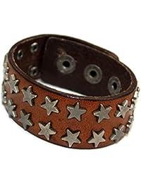 Pulsera de cuero pulsera de piel marrón claro metal estrellas remaches PI0189-3