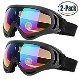 Gafas de esquí para niños hombres y mujeres Skate gafas con 100% protección UV 400lentes antirreflejos de resistencia al viento y a prueba de polvo aislamiento Pack de 2fabricado por cooloo, negro / negro