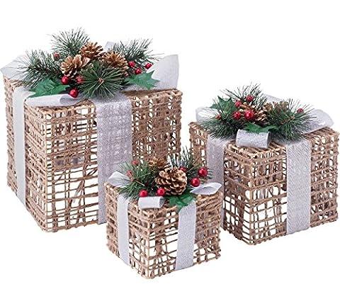 Set von 3Weihnachten Licht bis Geflecht Boxen