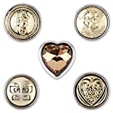 Morella® Damen SMALL Click-Button Set 5 Stück Druckknöpfe 12 mm Ø Gold Collection Herz in Kristall Look und Schmetterling