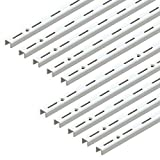 Emuca 7907812 Profilo cremagliera perforazione semplice passo 50mm per supporti di mensola, Bianco, L 1000mm, Set di 10 pezzi