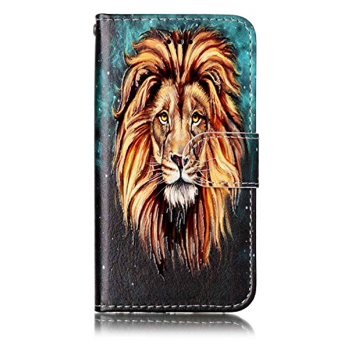 Coque Etui pour Apple iPod Touch 5 6,iPod Touch 6 Coque Portefeuille PU Cuir Etui,iPod Touch 6 Coque de Protection en Cuir Folio Housse, iPhone 7 Leather Case Wallet Flip Protective Cover Protector, U Lion