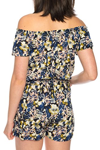 Dress Sheek Damen Jumpsuit Playsuit Sommer Luftig Gemustert Overall Kurz Schulterfrei Ärmel R261 - Schwarz