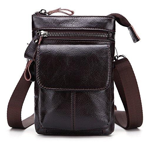 Everdoss Herren Hüfttaschen klein echt Leder Bauchtaschen für Camping Reise Kaffee