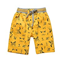 For 2-8 years Boys Shorts Cartoon Horse Print Children Clothing (4-5Y, Yellow)