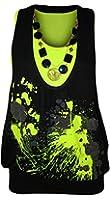 WearAll - Neu Damen Neon Halskette Glitzer Drucken Ärmellos Fluoreszierend Top - 4 Farben - Größe 36-42
