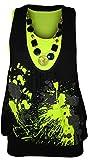 WearAll - Damen Neon Halskette Glitzer Drucken Ärmellos Fluoreszierend Top - Fluoreszierend Gelb - 36-38