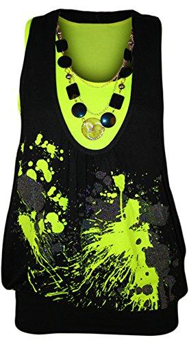 WearAll - Haut fluorescent et brillant avec deux couches et un collier - Hauts - Femmes - Jaune fluorescent - 40-42