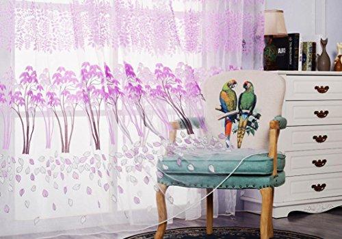 Preisvergleich Produktbild zycshang Hohe Qualität Fashion Leaf Gardinen Solide Farbe Fenster Behandlung Platten Tür Tuch Modern violett