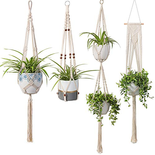 Makramee-Pflanzenaufhänger - Handgefertigter Blumentopf für den Innenbereich, Pflanzgefäß, Pflanzenhalter - Moderne Boho Home Decor Four Packs - Home Decor Pack