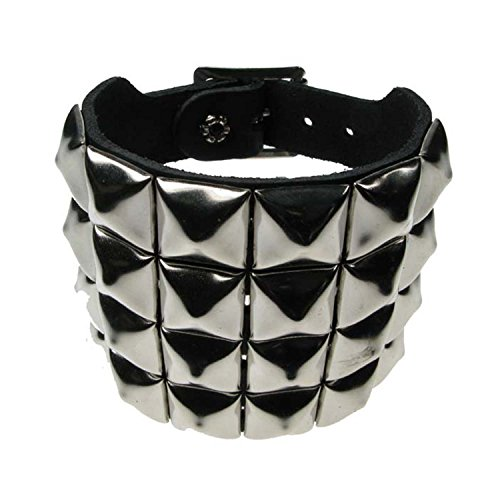 bullet-69-4-row-studded-wristband-pyramid-leather-wristband-emo-punk-gothic-steam-punk-lot