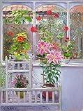 Posterlounge Leinwandbild 60 x 80 cm: Im Wintergarten von Timothy Easton/Bridgeman Images - fertiges Wandbild, Bild auf Keilrahmen, Fertigbild auf echter Leinwand, Leinwanddruck
