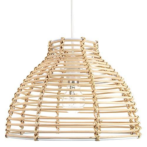 Colgante de techo de mimbre marrón claro estilo cesta tradicional de sombra clara por Happy Homewares