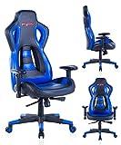Top Gamer Silla de juego de alto respaldo, silla ergonómica de carreras Silla de oficina de cuero superior giratoria (azul) .