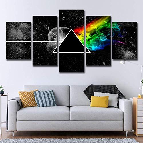 CXDM 5 Stück Wohnzimmer Wohnkultur Leinwanddrucke Pink Floyd Rock Musik Malerei Leinwand Kunst Wall Poster,B,30×50×230×70×230×80×1 -