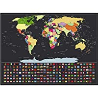Airoads Scratch Off Map of The World with All Country Flags, 2019 New Style Wall Maps for Travel Tracking, Home and Office Decoration