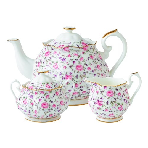 Rose Confetti by Royal Albert Teekanne/Zucker/cremefarben, 3-teiliges Set - Tea Rose Creamer