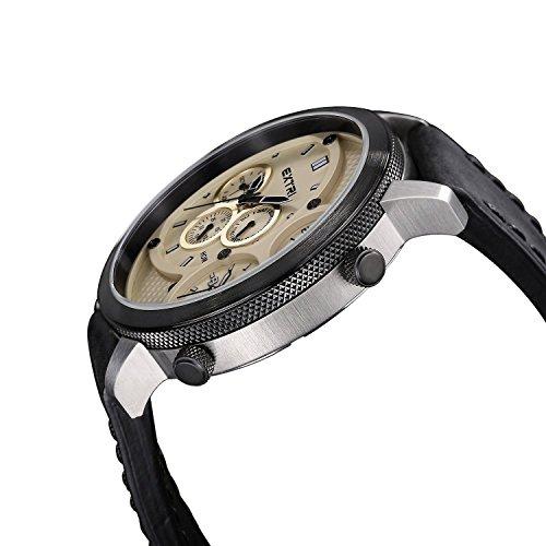 F. Men's Quartz Watch with Black Dial Analogue Display Quartz Leather X3002E