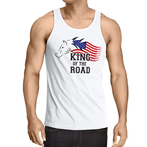 style3 King of The Road Herren Tank Top Amerika America Muscle Car, Größe:S;Farbe:Weiß