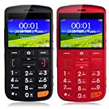 iocean C100 - teléfono móvil Fácil Senior Citizen anciano con larga espera, teclado grande, SOS, FM (Negro, Rojo)