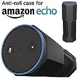 Amazon Echo Hülle Zubehör [Anti-Roll] Silikon Schutzhülle Ständer von CUVR Works With Alexa, Kabel & Fernbedienung (Schwarz)