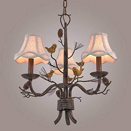 Rustikale Country Tannenzapfen und Vogel Stoff Bell Shade Metal Branch 3-Light / 6-Light Kronleuchter (3-Light) (Größe: 4 Licht) -