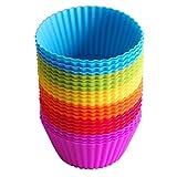 IdealHouse Stampi per muffin, in silicone, riutilizzabili, stampi per torte, gelati, muffin e budini, colore: arcobaleno, confezione da 24