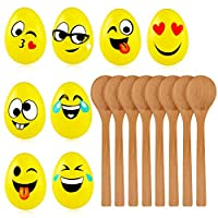 The Twiddlers Relay Egg Race Game with Emoji Dssign, 8 Wooden Spoons & 8 Eggs Kit - Perfect Toy Gift Set for a Fun day Outdoor, Party Activity for Adults & kids.