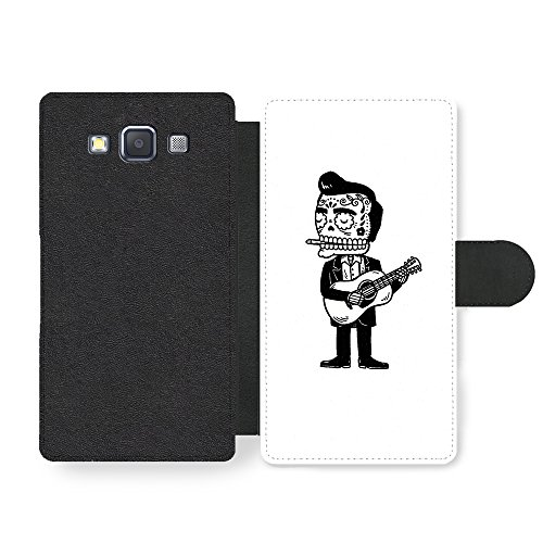 Johnny Cash Mexican Skull Illustration in Black and White Custodia in Faux Pelle per Samsung Galaxy A3 (2014 edition)