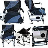 'Amaze' Folding aluminium beach swimming pool outdoor portable light weight multi utility Director Chair with side table and drink holder (Black/Grey)
