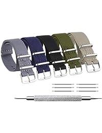 ZHUGE Unisex nylon cinturino orologio multicolor Balistico Cinturino Nato Cinturino in Nylon 5 pezzi in tinta unita 20mm