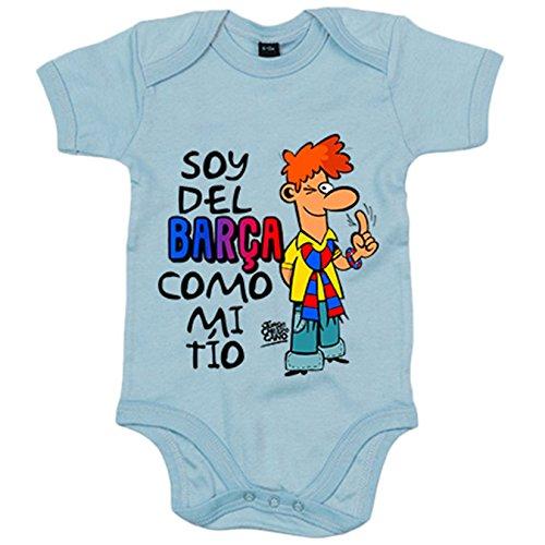 Body bebé soy del Barça como mi tío Jorge Crespo Cano - Celeste, 6-12 meses