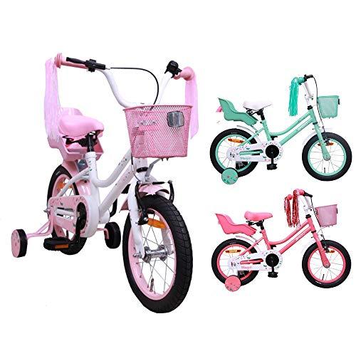 AMIGO Magic - Kinderfahrrad - 14 Zoll - Mädchen - mit Rücktritt und Stützräder - ab 3 Jahre - Weiß/Rosa
