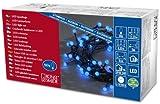Konstsmide 3691-407 LED Globelichterkette mit runden Dioden / für Außen (IP44) /  24V Außentrafo / 80 blauen Dioden / schwarzes Kabel