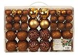 Bagattelle di palle di Natale esclusive set con 100 pezzi colore marrone - Esclusivo SET di palline di natale - Materiale: plastica - Colore: marrone - diverse dimensioni - Quantità: 100 Pezzi compreso Contenitore PVC