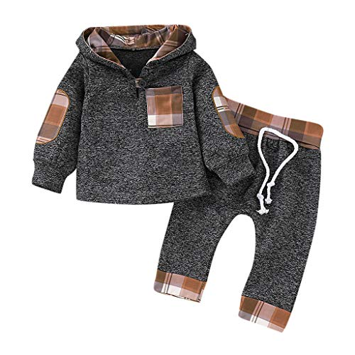MRULIC Säuglings Kleinkind Baby Jungen Pulli mit Kapuze Pullover Oberseiten und Hosen Ausstattungs Sätze 1-3 ()