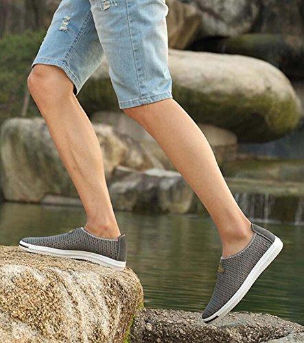 Pompe Glisser sur Flâneur Fil net Engrener Des sandales Casua Chaussures Hommes Brathable Creux Non-Slip Chaussures à pédales Sneker Chaussures de conduite Chaussures de randonnée Chaussures de course Grey