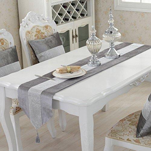 DegGod Luxus Samt stilvolle atmosphäre minimalistischen modernen Diamanten Tischläufer / Tischdecke Couchtisch Tuch und zwei Quasten (32 x 185 cm) (Silber) - 3