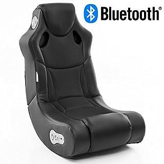 Wohnling Soundchair Booster in Schwarz mit Bluetooth eingebauten Lautsprechern   Multimediasessel für Gamer   Musiksessel 2.1 Soundsystem-Subwoofer, Lederimitat, 100x56x82cm