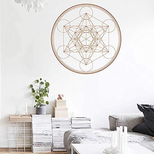 BFMBCH Geometrische Wandtattoo Cube Geometrische Wand Vinyl Aufkleber Linie Runde Mandala Schlafzimmer Wohnzimmer Universal Wandaufkleber Grau 57x57 cm -