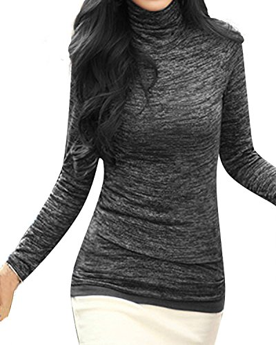 ZANZEA Donna Dolcevita Camicia Camicetta Slim FIt Shirt Manica Lunga Pullover Nero EU 46/ASIA 2XL